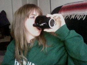 Fairy tale Kelly drinking coffee
