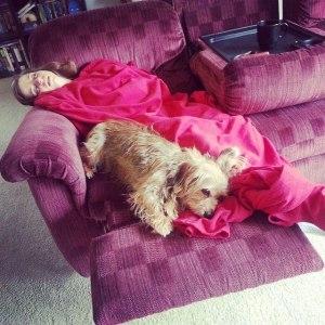 napping after the Garmin Oz Run Half Marathon